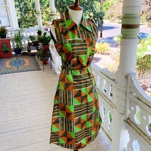 Vintage 60's Psychedelic Dagger Collar Midi Dress